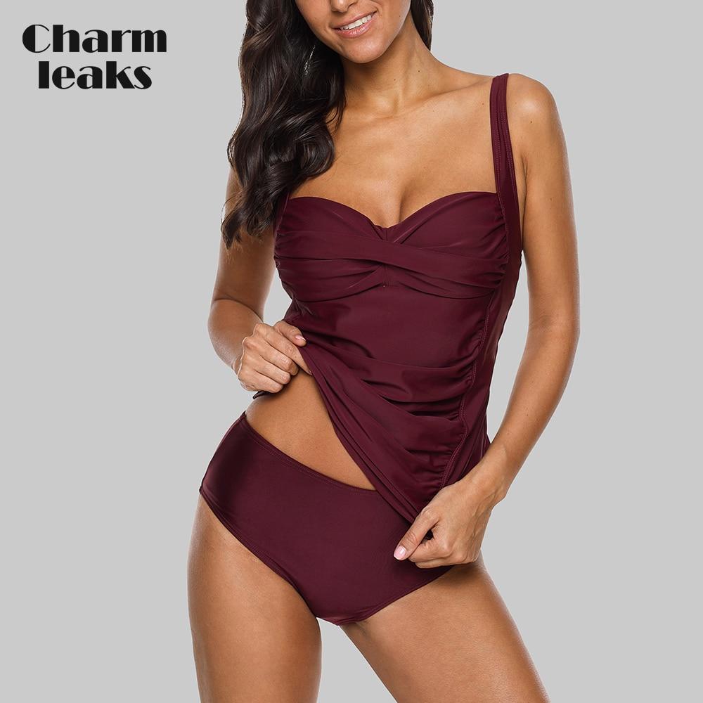 Charmleaks Women Tankini Set Swimsuit Solid Color Retro Bikini Vintage Cross Swimwear Bathing Suit