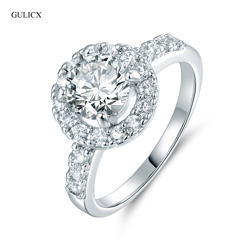 GULICX Hot sale Fashion Luxury Women Engagement Jewelry Crystal Zircon Female Wedding Finger