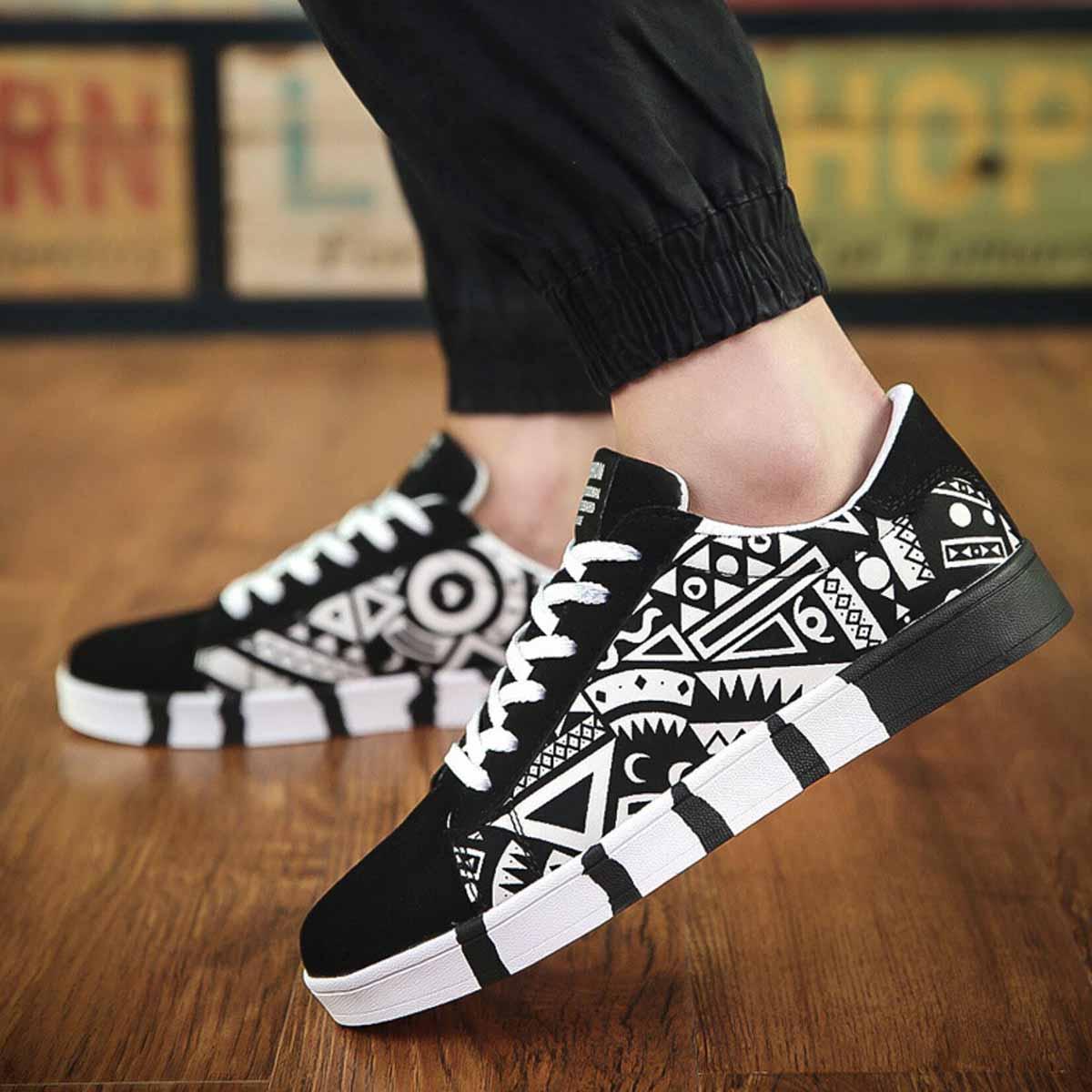 8e1deeb480eec De los hombres de moda Graffiti superficial de lona zapatillas de deporte  casuales de vulcanizados zapato de plataforma de hip hop de pista zapatos  en ...