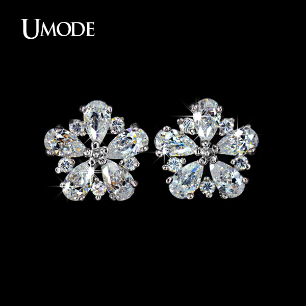 Umode Top Quality Pure Aaa Cz Cubic Zirconia Stone May Flower Stud Earrings Birthday Gift Jewelry Ue0028 In From Accessories On