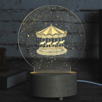 Merry Go Round 3D LED Lamp Wood Base With Music Box Dimming Remoting Switch Little Girl