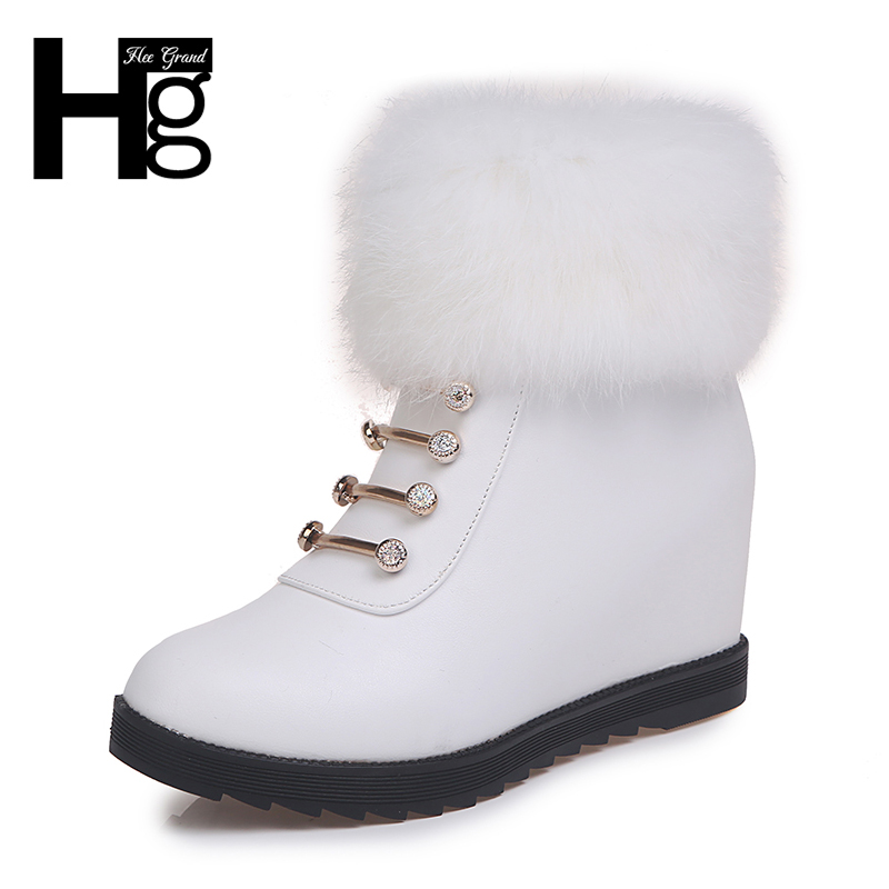 HEE GRAND Glitter Winter Women Snow Boots Round Toe Faux Fur Ankle Boots Flock Wedges Shoes Woman Solid Pu Leather Boots XWX6797 футболка ea7 ea7 ea002emuei37