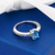 GemStoneKing Americano Real 925 Anillo de Plata Esterlina Joyería Fina 1.30 Ct Blue Mystic Topaz Blanco Zafiro Anillos Solitarios