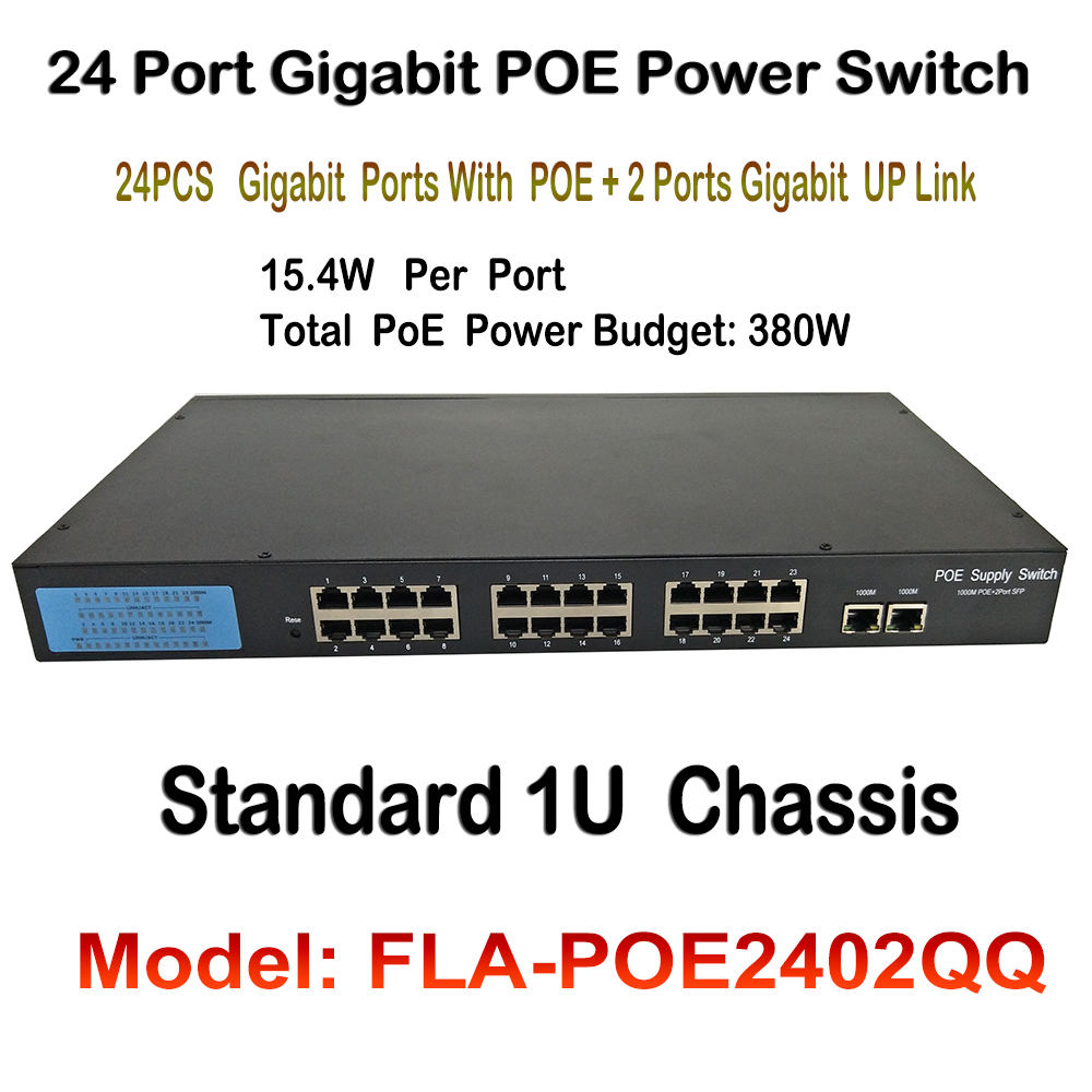 24ch Ports Gigabit PoE Switch 380W 48V 802.3af 1000Mbps-RJ45 ports Supports port auto-flip 1U Chassis for Network IP Cameras