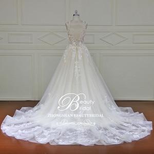 Image 3 - Elegant Detachable Train Wedding Dresses Custom made Lace Pearls Sleeveless Mermaid Wedding Dress  Vestido de Noiva  XF17011
