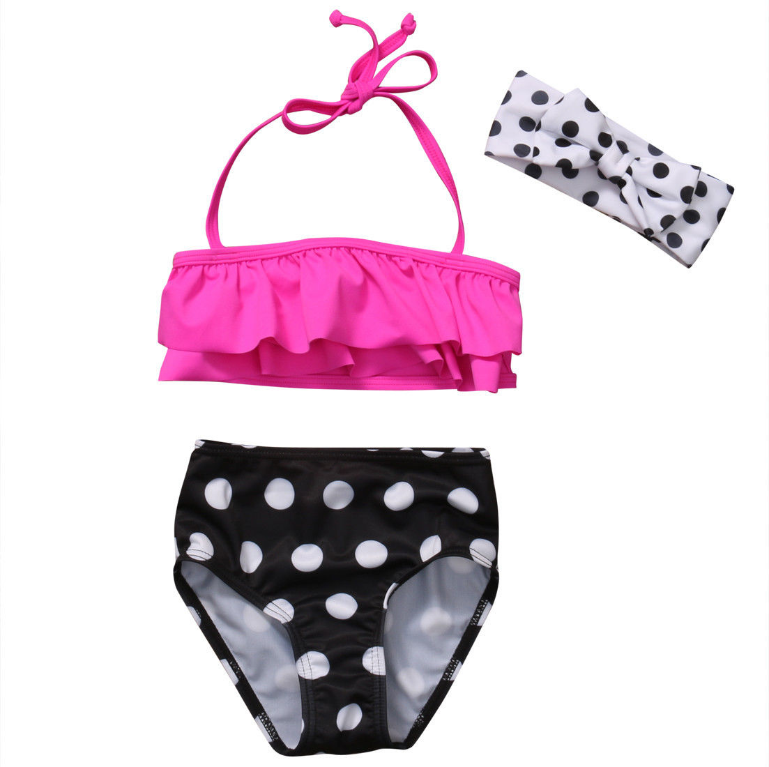 Black Friday Deals New 2017 Summer Kids Baby Girls Ruffle White Dot Black Bikini Suit Sw ...