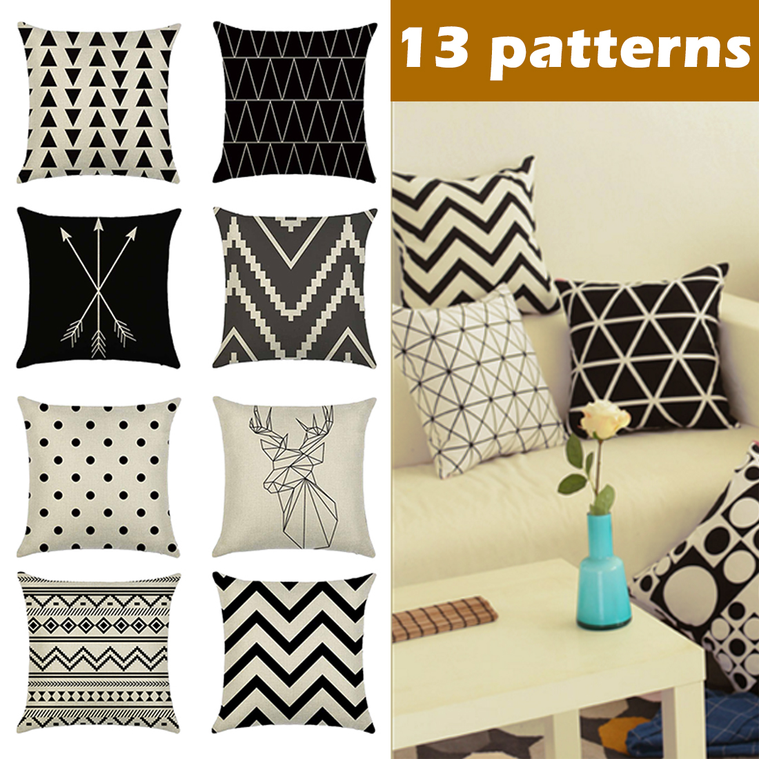 Black and White Striped Geometric Decorative Pillowcases Polyester Throw Pillow Case Home Decorative Pillows