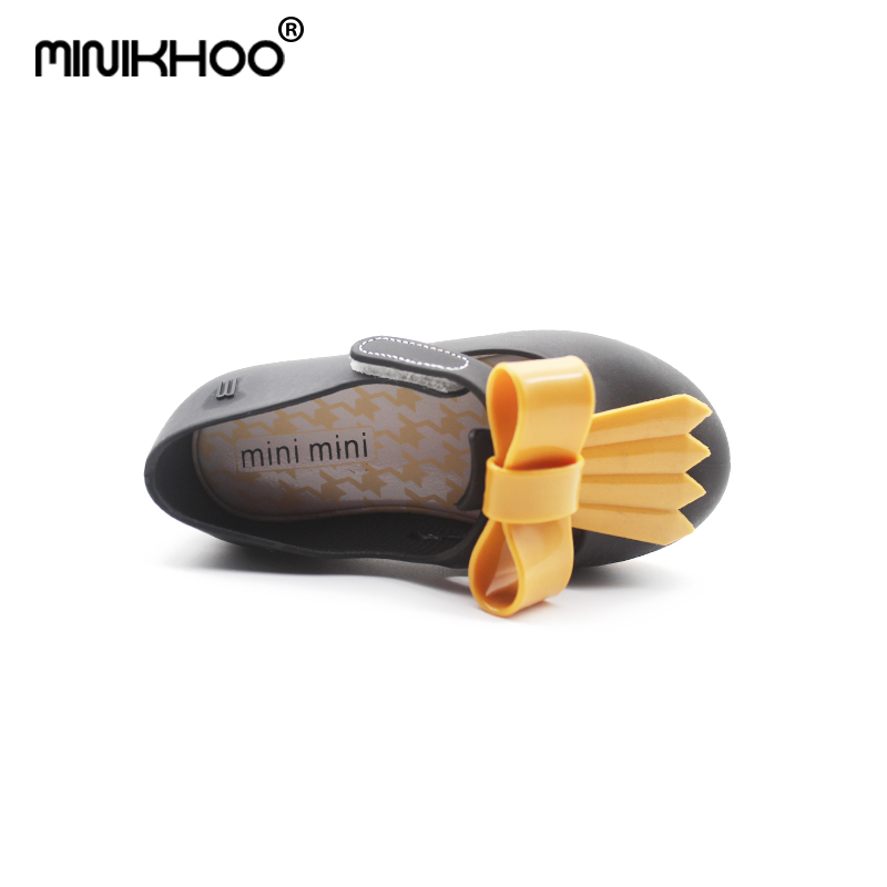 Mini Melissa 2018 New Casual Girl Jelly Shoes Double Color Bow Princess Shoes Sandals Waterproof Comfortable Jelly Shoes Shoes
