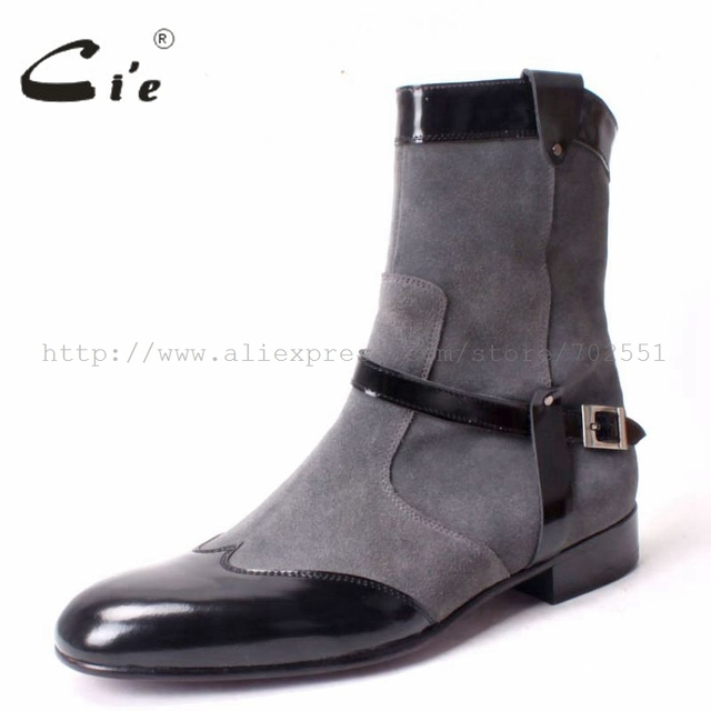 Ci'e – Handmade Pure Genuine Calf Leather outsole Men's Boots Color Dark Grey Suede and Black Patent Leather  No.A64