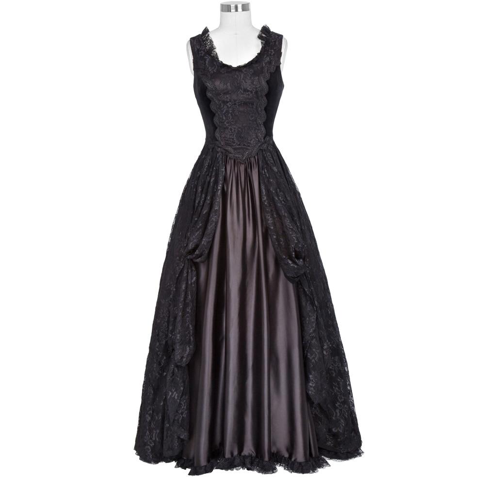 Belle Poque Femmes Gothique de Style Victorien 40 s 50 s Rétro Robe femelle Maxi Réservoir Sexy Floral Dentelle Velours Noir Swing Robe 2017
