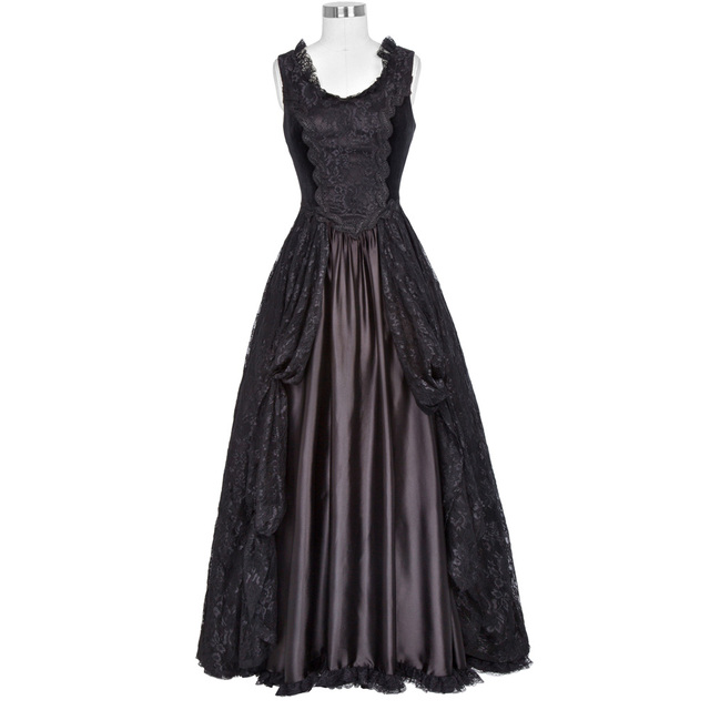 af7c5363d96 Belle Poque Women s Gothic Victorian Style 40s 50s Retro Dress Female Maxi  Tank Sexy Floral Lace Velvet Black Swing Vestido 2017