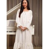 Donne camicie da notte bianca primavera autunno 100% cotone principessa reale d'epoca sleepshirts lungo-manicotto lungo degli indumenti da salone della moda