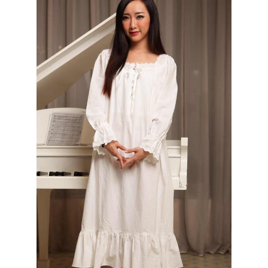 Women nightgowns white spring autumn 100% cotton princess royal vintage  sleepshirts long-sleeve long 2310ac026