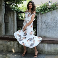 Simplee Off Shoulder Chiffon Print Maxi Dress Women High Wiast Lined Long Dress 2017 Summer Casual