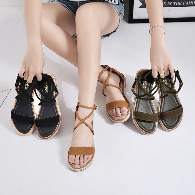 ed087674f Summer Fashion Women Genuine Leather Roman Low Heels Sandals Cross Straps Women  Flats Sandals Black Sandalia Plus Size34-42