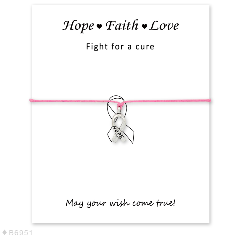 (10PCS)Cancer Breast Survivor Hope Charm Awarene Bracelets&Bangles for Women Girls Adjustable Faith Love Statement with Card