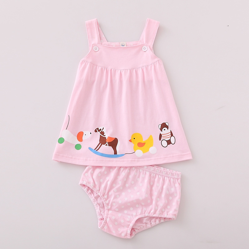 Children Clothes Suits Kids Summer Dress Baby Sling Skirt Sleeveless Cotton Casual Vest Set Cartoon Camisole Girl Shorts Skirt in Vests from Mother Kids