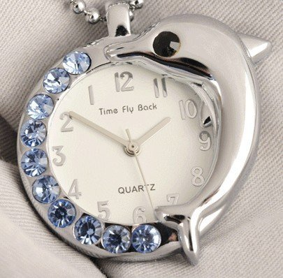 Turn the clock back,anticlockwise ladies pocket watches, dolphin watch, five colors free shipping