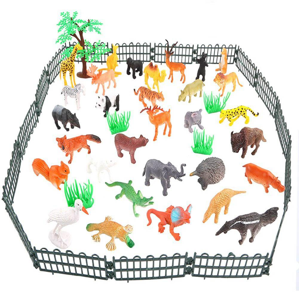 53pcs/pack Jungle Animal Model Simulation Animal World Toy Set Mini Animal World Zoo Plastics Collection Toy For Kids bulk buy darice crafts for kids shoelaces assorted animal prints 12 pack 2701 93