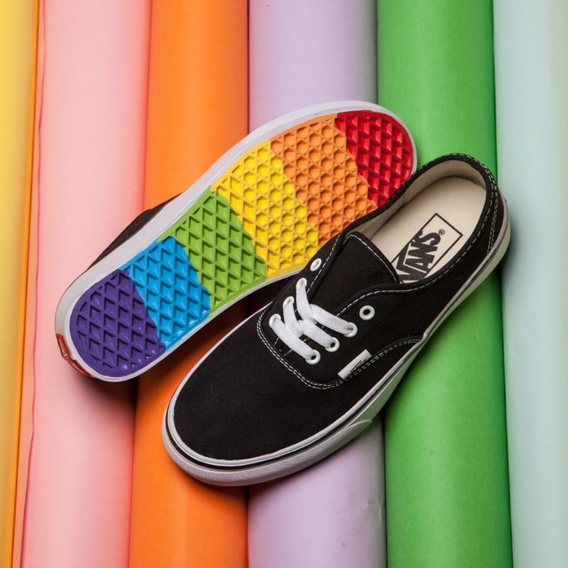 08f26074e9 2017 vans authentic classic Rainbow OLD SKOOL men s canvas shoes ...