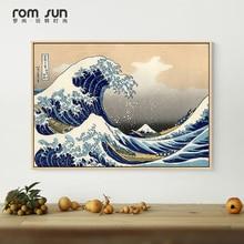 Carteles de Amanecer japoneses abstractos, cartel Popular de gran ola de Kanagawa, paisaje marino, Anime japonés para decoración de dormitorio Deco
