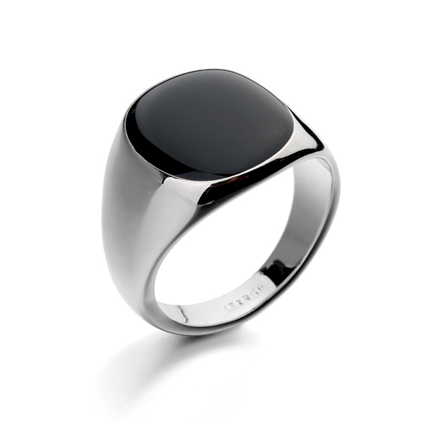 gold color black man ring brand simple style ring jewelry for men