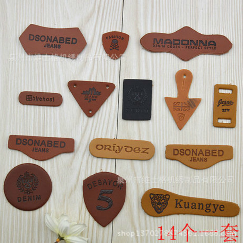 100 Pcs/lot Small Fashion Leather Patches Letter Decorative Stickers for Jeans Clothing Sewing Accessories