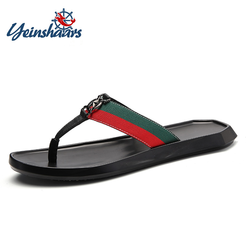 YEINSHAARS Flat With Beach Fashion Outside Men's Slippers Leisure Concise Summer Flip Flops Narrow Band Sewing Solid Men Shoes
