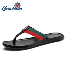YEINSHAARS Flat With Beach Fashion Outside Mens Slippers Leisure Concise Summer Flip Flops Narrow Band Sewing Solid Men Shoes