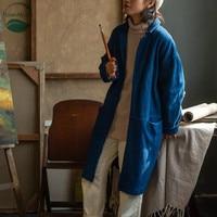 LinenAll для женщин/для мужчин натуральный завод окрашенные 100% хлопок плащ для Кендо костюмы Винтаж Синий Окрашенные пальто