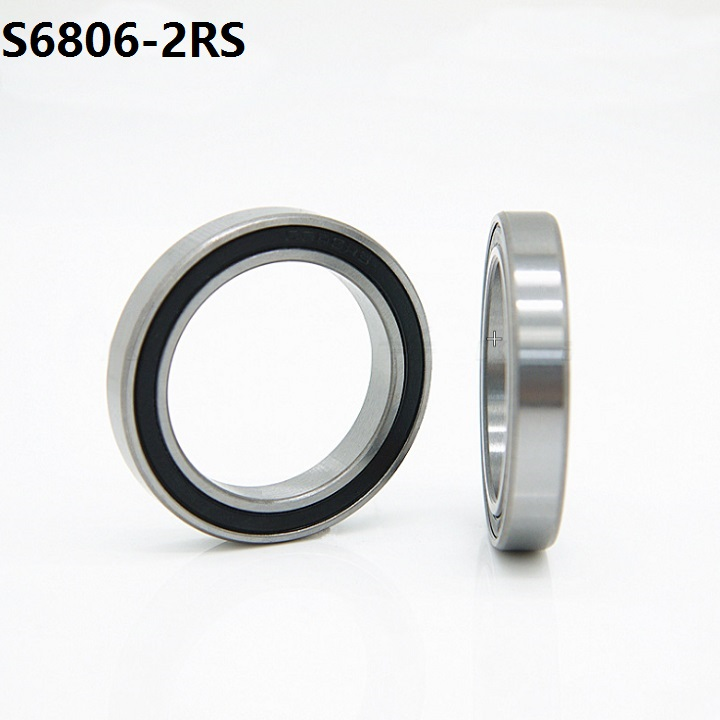 10pcs/lot ABEC-5 S6806-2RS S6806RS <font><b>Bearing</b></font> Stainless Steel 30x42x7 mm Deep Groove Ball <font><b>Bearing</b></font> 30*42*7mm 6806-2RS <font><b>6806RS</b></font> image