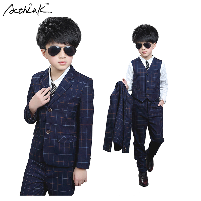 ActhInK Gentle Boys Plaid Cotton Formal Dress Suit 3PCS Vest+Blazer+Pant for Flower Boys Wedding Suit Children Proms Suit, MC225 boy blazer suit 2018 boys 3pcs plaid formal wedding suit vest coat pant brand children party tuxedos performance wear for boys
