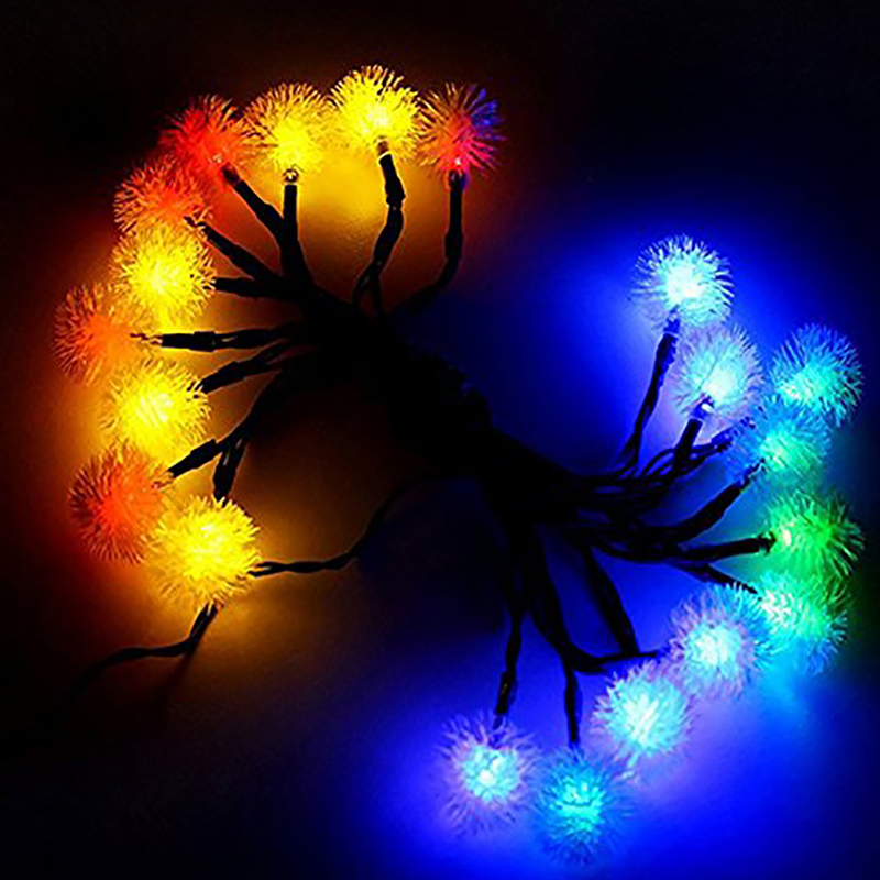 Outdoor Solar Powered 20LED String Lights Fairy Dandelion Ball су - Мерекелік жарықтандыру - фото 3
