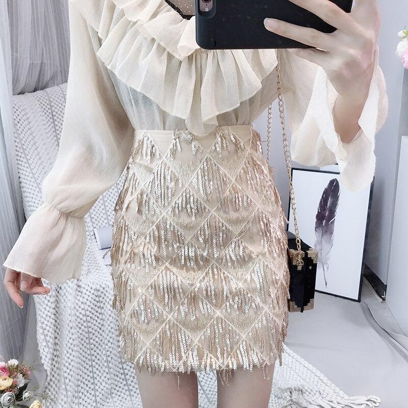 High Lace New Apricot Women's Skirt Fashion Sexy black Waist Slimming Elegant 2019 Tassel Sequins tFZwXq11