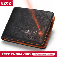 GZCZ 2018 Genuine leather Men Wallet Clamp For Money Card Holder Male Purse Drop Shopping Free engraving PORTFOLIO MAN Money Bag