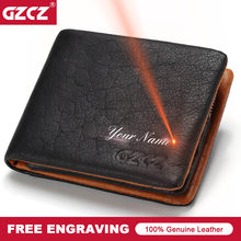 GZCZ 2018 Genuine leather Men Wallet Clamp For Money Card Holder Male Purse Drop Shopping Free engraving PORTFOLIO MAN Money Bag(China)