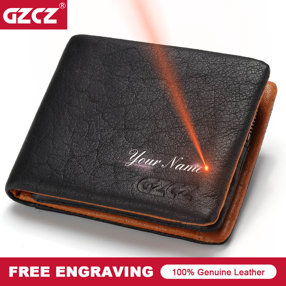 GZCZ 2018 Genuine leather Men Wallet Clamp For Money Card Holder Male Purse Drop Shopping Free engraving PORTFOLIO MAN Money Bag
