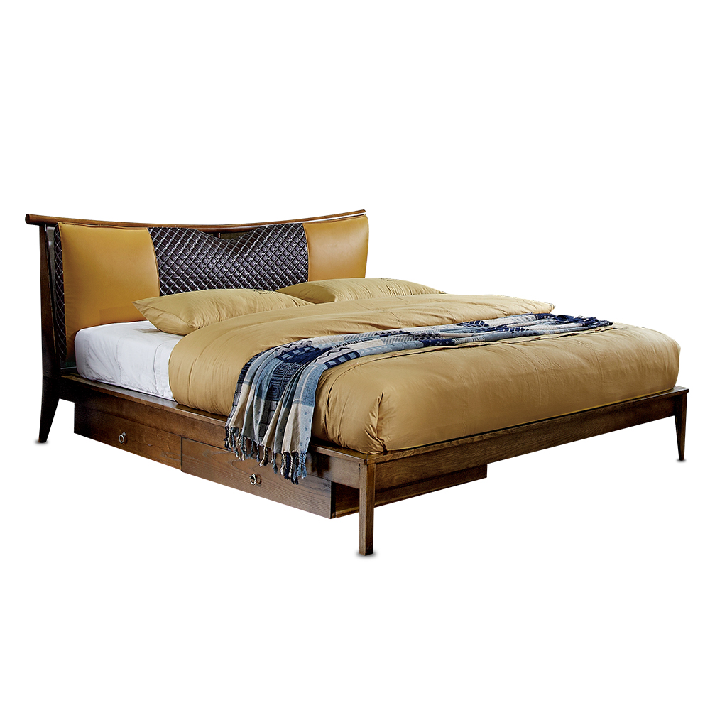 1212H303D Original Nordic Modern Simple style Ash solid wood with stable ranked skeleton soft bed-rest large bed frame