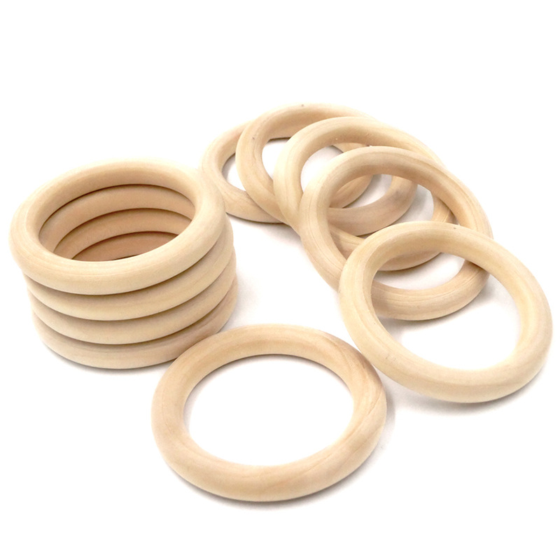 5pcs Natural Wooden Baby Teething Rings 55mm/68mm Necklace Bracelet DIY Crafts Wooden Rodents Natural Safe Teether Toys