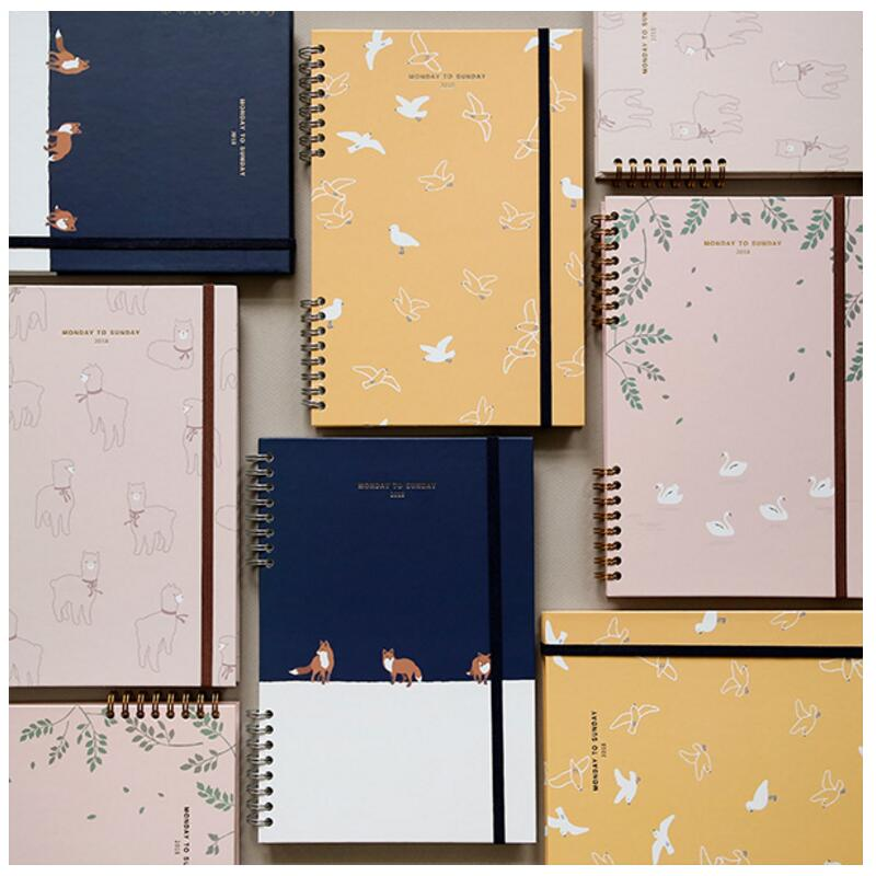 2018 Monday To Sunday Creative Floral Coil Weekly Planner Band Journal 15*22cm Korean Fashion Scheduler 168P floral flamingo theme creative 2018 weekly planner band journal notebook 13 9 19 4cm korean fashion scheduler 192p free shipping