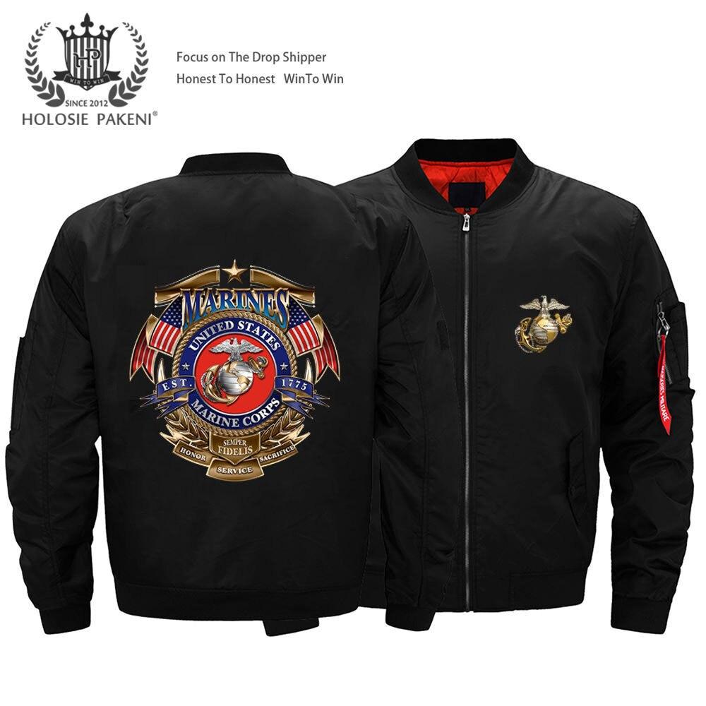 Livraison directe USA taille unisexe MA-1 hommes Marine Corps vol veste imprimé Bomber veste pilote veste moto veste