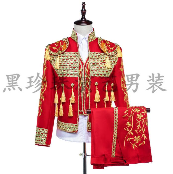 National trend stand collar embroidery chinese tunic font b suit b font font b men b