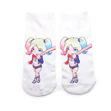 DMLSKY Harley Quinn Funny Socks Women Men Fashion 3D Printed Cotton Cartoon Novelty M3548