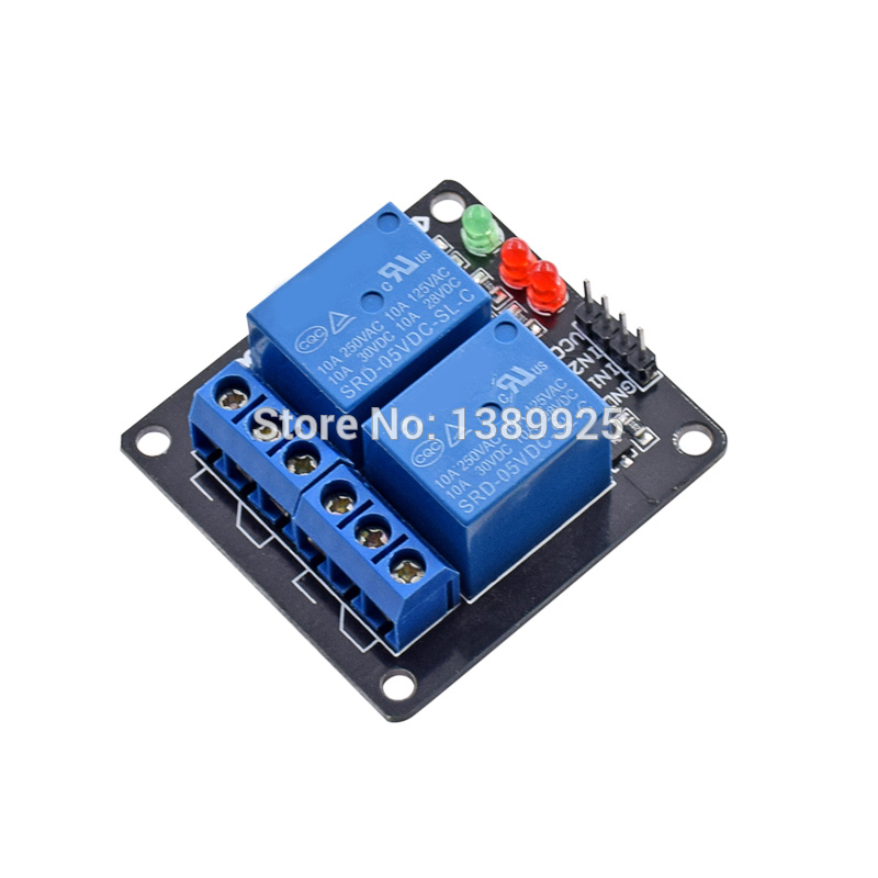 Wholesale 20pcs/lot DC 5V Indicator Light LED Two 2 Channel Relay Module