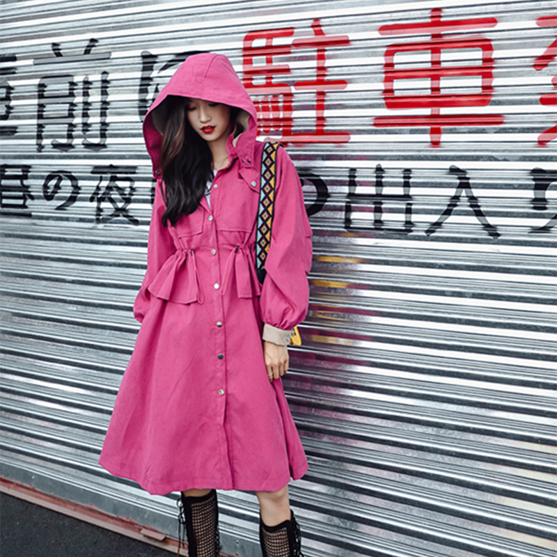 2019 Spring Vogue Ladies Streetwear Outwear Women Vintage Drawstring Single Breasted Pink Trench Coat Female Hooded