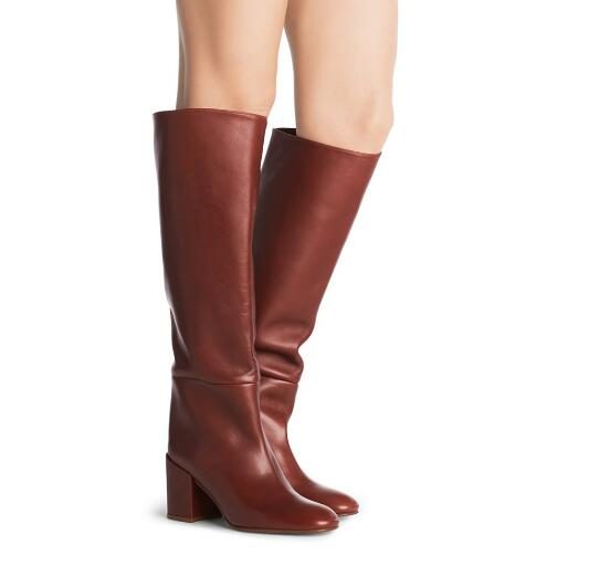 Classic spring and autumn woman black/brown solid round toe medium heel long boots Ladies knee-high boots Fashion boots white high heel knee high long boots for woman ladies solid super high chunky heel half boots round toe fashion boots dress shoe