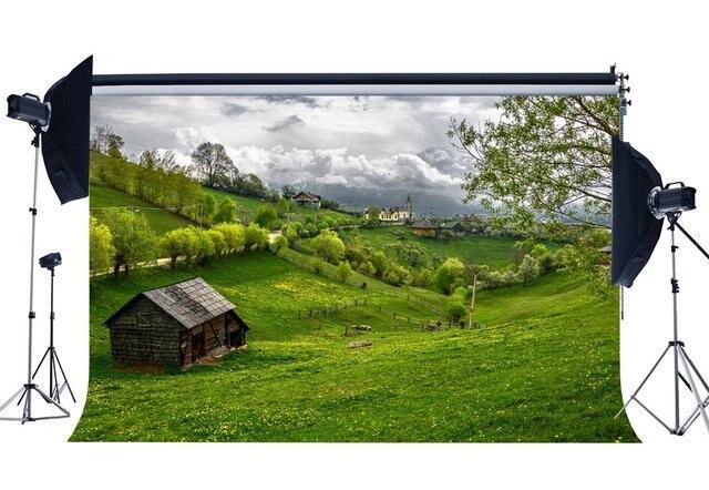 봄 배경 소박한 마을 정글 숲 배경 신선한 꽃 녹색 잔디 초원 자연 배경