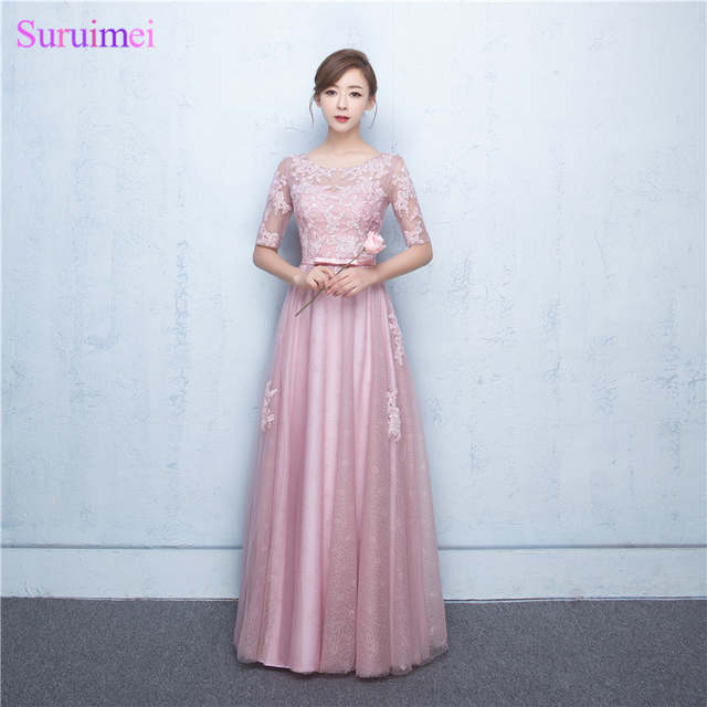 Blush Rose Pink Bridesmaid Dresses High Quality Sequines Lace Tulle Corset  Long Brides Maid Dress with 0a59c72f6a4e