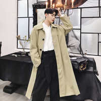 Men Vintage Fashion Casual Loose Long Trench Coat Male Japan Style Windbreaker Cardigan Jacket Autumn Spring Overcoat