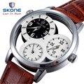 SKONE Скелет 3 Циферблаты Мужские Часы Лучший Бренд Роскошные Кожаные Мужские Кварцевые Часы Платье Часы Знаменитые Часы Relogio Masculino XFCS